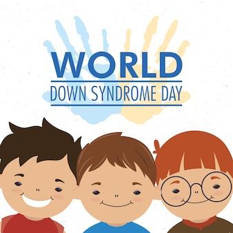 Dia mundial da síndrome de down com as mãos estampadas tinta e grupo de meninos