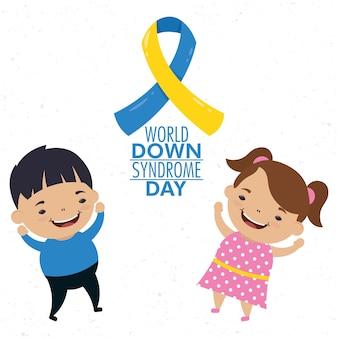Dia mundial da síndrome de down com campanha da fita e crianças