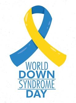 Dia mundial da síndrome de down com campanha da fita