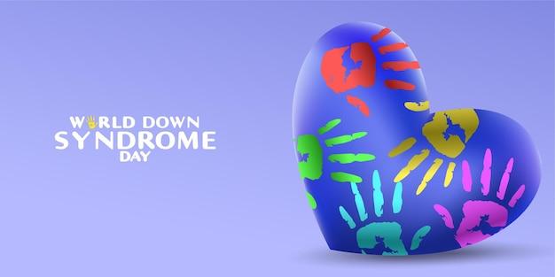 Dia mundial da síndrome de down com formato de coração e placa de pintura à mão de palma
