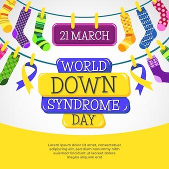 Dia mundial da síndrome de down com meias coloridas
