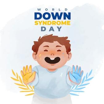 Dia mundial da síndrome de down com menino