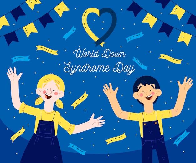 Dia mundial da síndrome de down desenhado à mão e crianças