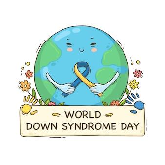 Dia mundial da síndrome de down desenhado à mão