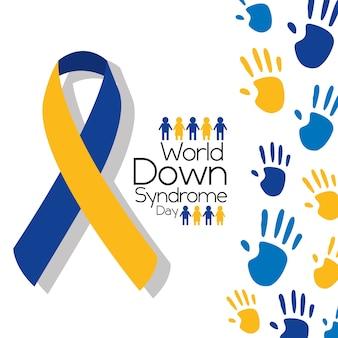 Dia mundial da síndrome de down dia cartão campanha de cores simbólica