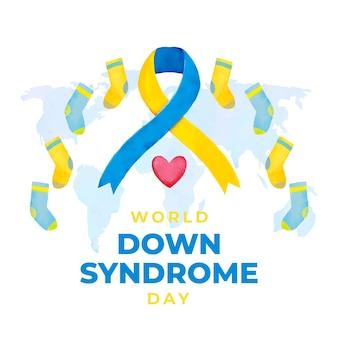 Dia mundial da síndrome de down em aquarela