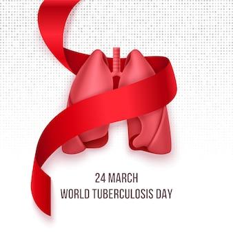 Dia mundial da tuberculose. 24 de março. pulmões em fita vermelha fotorrealista. dia de conscientização sobre tuberculose