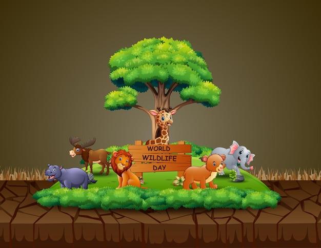 Dia mundial da vida selvagem com o animal em uma floresta estreita