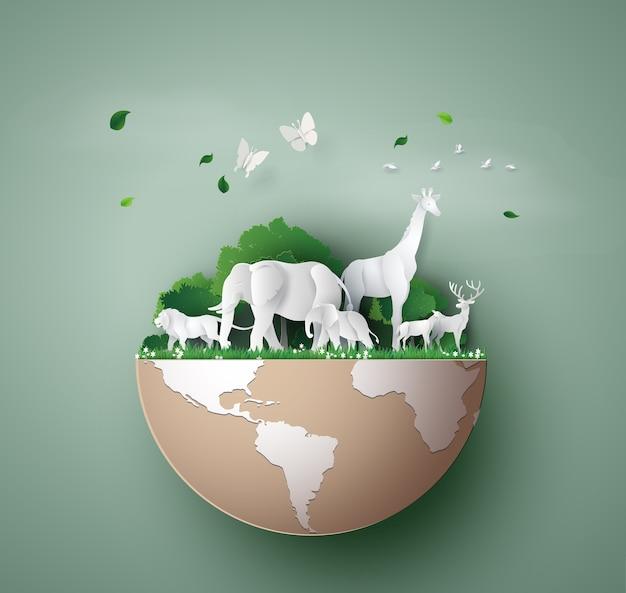 Dia mundial da vida selvagem com o animal na floresta,