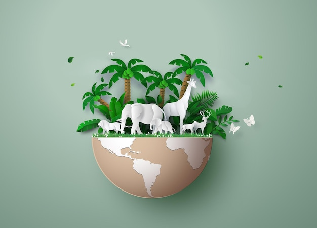 Dia mundial da vida selvagem com os animais na floresta, arte de corte de papel e estilo de artesanato digital.
