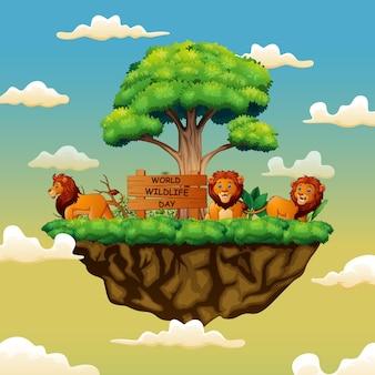 Dia mundial da vida selvagem com os três leões na ilha