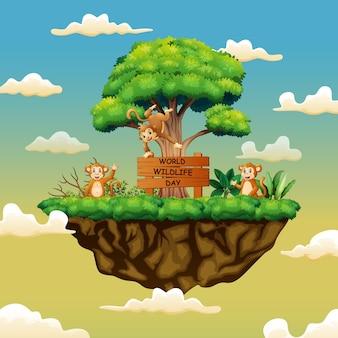 Dia mundial da vida selvagem com os três macacos na ilha