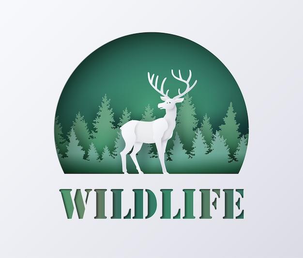 Dia mundial da vida selvagem com veados na floresta,