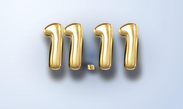 Dia mundial das compras 11.11. venda global. grande venda do ano. ouro realista