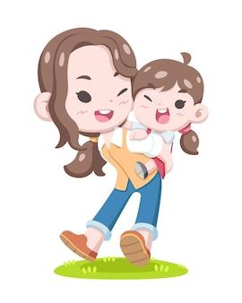 Dia mundial das mães, ilustração de desenho animado de mãe e filho de estilo fofo