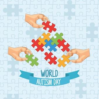 Dia mundial do autismo, com as mãos jogando quebra-cabeça