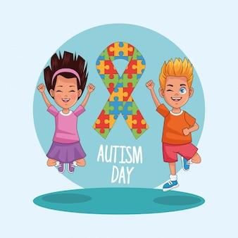 Dia mundial do autismo com crianças casal de personagens