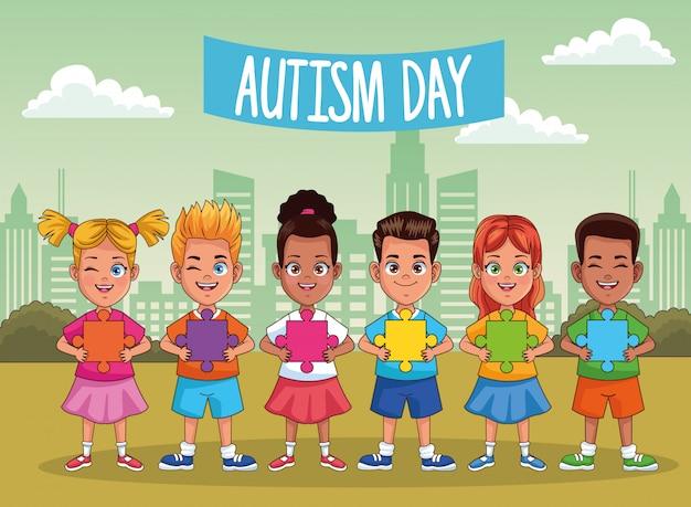 Dia mundial do autismo com crianças no campo