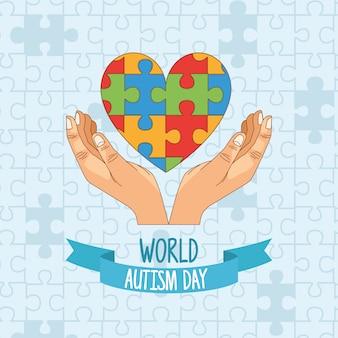 Dia mundial do autismo com mãos e quebra-cabeça coração