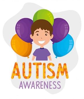 Dia mundial do autismo com menino e balões de hélio