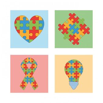 Dia mundial do autismo com peças de jogos de quebra-cabeça