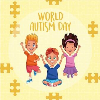 Dia mundial do autismo crianças com peças de quebra-cabeça vector design ilustração