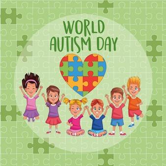 Dia mundial do autismo crianças com quebra-cabeça coração vector design ilustração