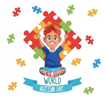 Dia mundial do autismo menino com peças de quebra-cabeça vector design ilustração