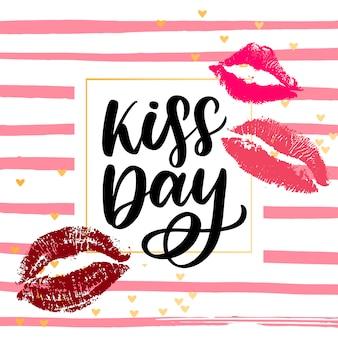 Dia mundial do beijo. a inscrição é escrita à mão com tinta. bela inscrição para parabéns e cartaz.