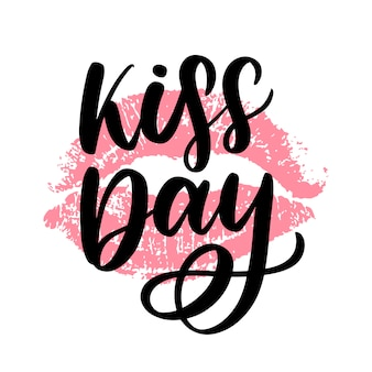 Dia mundial do beijo. a inscrição é escrita à mão com tinta.
