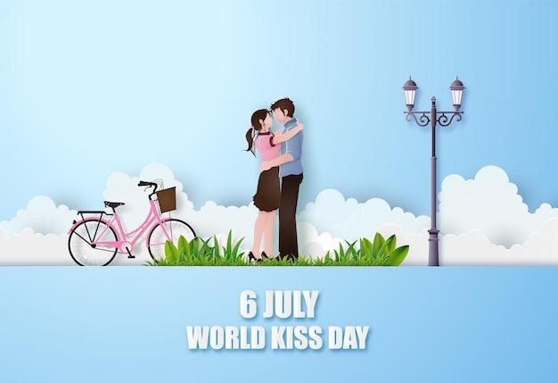 Dia mundial do beijo casal homem e mulher beijando colagem de papel e estilo de corte de papel com artesanato digital