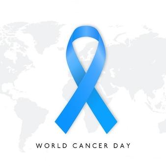 Dia mundial do câncer azul fita fundo globo do mundo