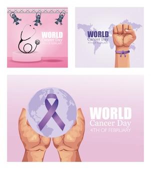 Dia mundial do câncer definir ícones de cartaz