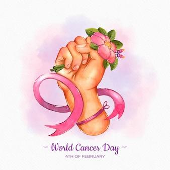Dia mundial do câncer em aquarela