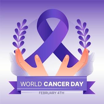 Dia mundial do câncer gradiente com as mãos