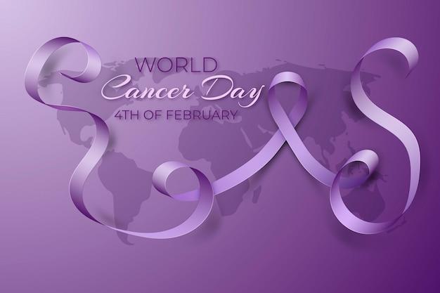 Dia mundial do câncer realista com fita