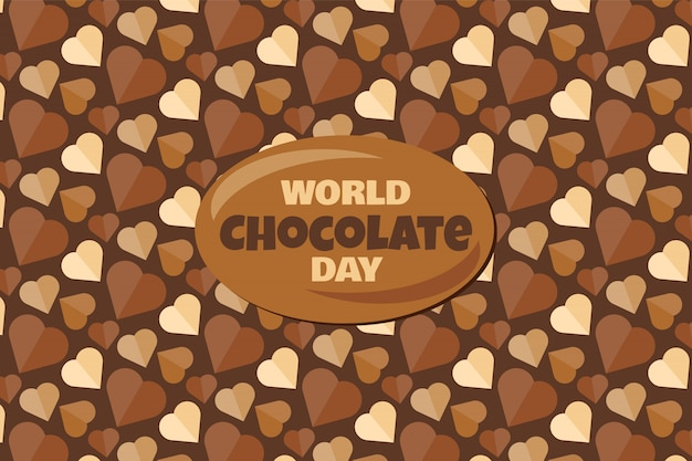 Dia mundial do chocolate com texto e fundo de sobremesa saborosa