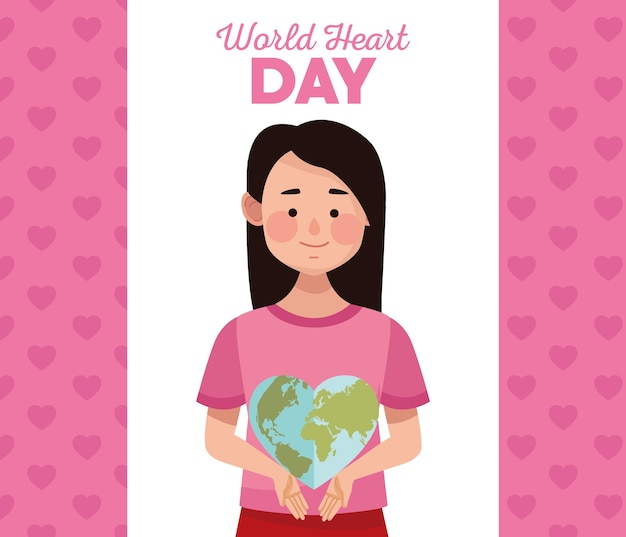 Dia mundial do coração com a mulher levantando a terra em forma de coração.