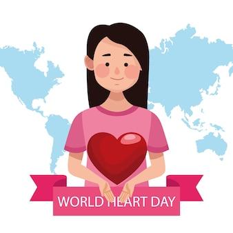 Dia mundial do coração com a mulher levantando o coração e o planeta terra.