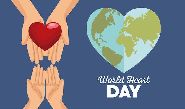 Dia mundial do coração com as mãos levantando a terra em forma de coração.