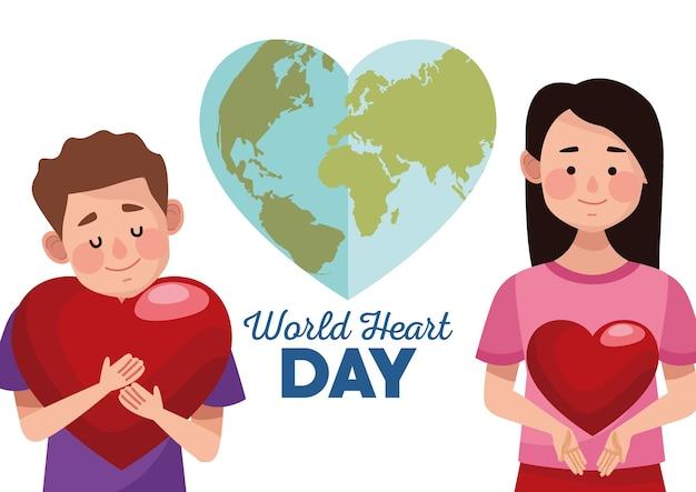 Dia mundial do coração com casal abraçando corações e terra em forma de coração.