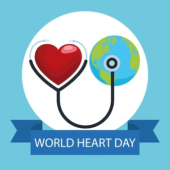 Dia mundial do coração com estetoscópio e o planeta terra.