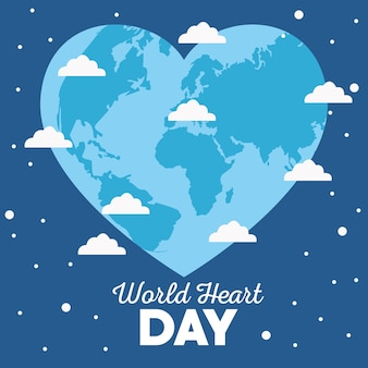 Dia mundial do coração com terra em forma de coração.