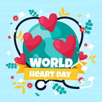Dia mundial do coração desenhado à mão