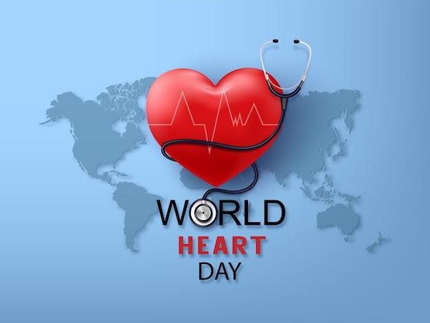 Dia mundial do coração e ilustração de cuidados de saúde. conceito de dia de consciência médica, estilo de corte de papel.