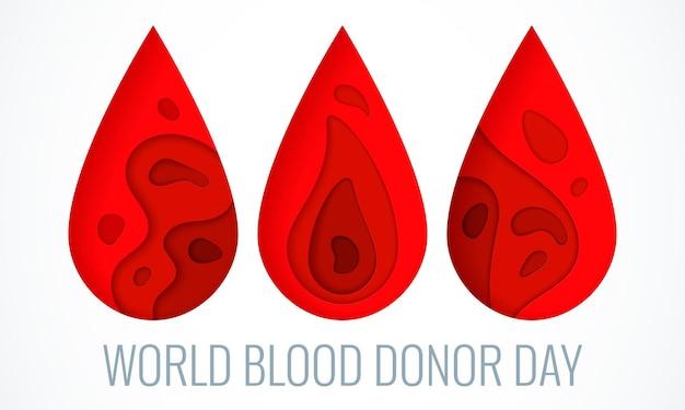 Dia mundial do doador - 14 de junho - pôster estilo corte de papel. doação de sangue e o conceito de saúde médica com gota vermelha abstrata. ilustração vetorial eps 10.