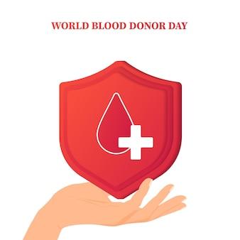 Dia mundial do doador de sangue dia mundial do doador de sangue salvamento e assistência hospitalar Vetor Premium