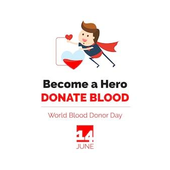 Dia mundial do doador de sangue. torne-se um herói doe sangue