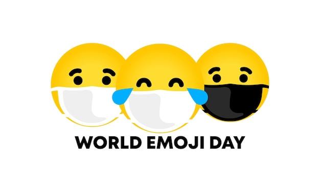 Dia mundial do emoji. cartaz com o dia de emoji do mundo de texto. banner para cartão de felicitações, logotipo, selo ou banner. vetor eps 10