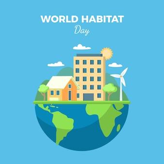 Dia mundial do habitat em design plano